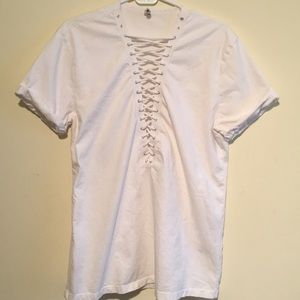 White T-shirt with lace insert from LF